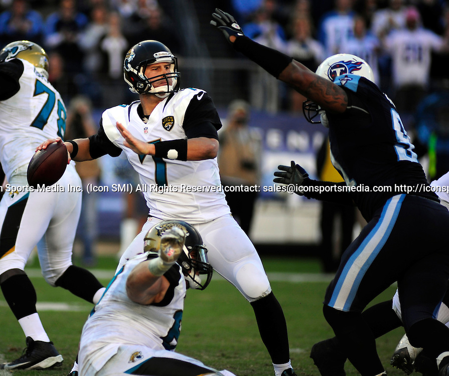 Nov. 10, 2013 - Nashville, TN, USA - Jacksonville Jaguars quarterback Chad Henne (7) throws downfield during 2nd half action at LP Field in Nashville, Tn