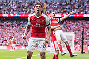 Arsenal defender Hector Bellerin (24)celebrate Arsenal 2nd goal during the The FA Cup Final match between Arsenal and Chelsea at Wembley Stadium, London, England on 27 May 2017. Photo by Sebastian Frej.