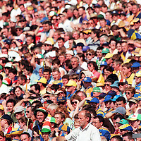 9 Aug 1998. Clare manager Ger Loughnane pictured giving instructions from the Cusack Stand. All-Ireland Hurling semi-final, Clare v Offaly, Croke Park. Picture Credit: Brendan Moran/SPORTSFILE.