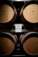 Oak casks, filled with Malbec wine, sit in the cellar at Bodega Ruca Malen in the Luján de Cuyo area of Mendoza, Argentina. The bodega offers a five-course tasting menu with pairing of it's own wines.
