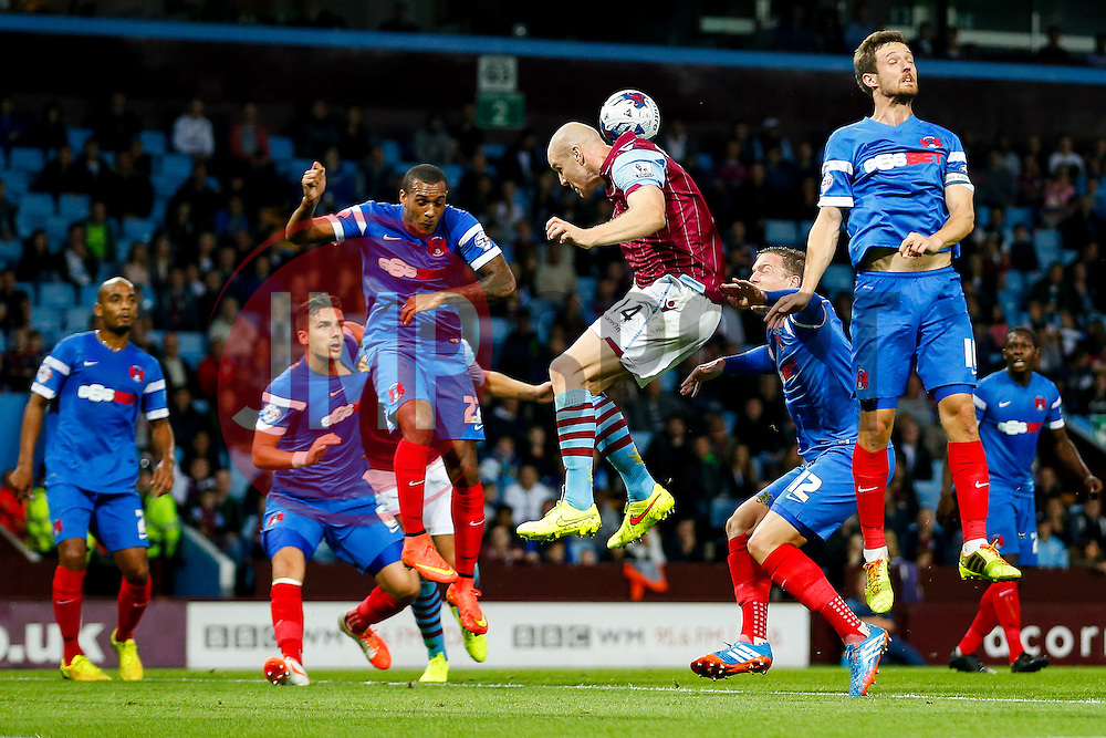 Philippe Senderos of Aston Villa cant quite connect with a cross - Photo mandatory by-line: Rogan Thomson/JMP - 07966 386802 - 27/08/2014 - SPORT - FOOTBALL - Villa Park, Birmingham - Aston Villa v Leyton Orient - Capital One Cup Round 2.