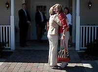 SIMPSONVILLE, SC:  Hugged by an old friend on her way to lunch with supporters, Ann Romney, former first lady of Massachusetts and wife of republican candidate for president, Mitt Romney, in Simpsonville, South Carolina, Thursday, September 29, 2011. (Photo by Melina Mara/The Washington Post) . ...