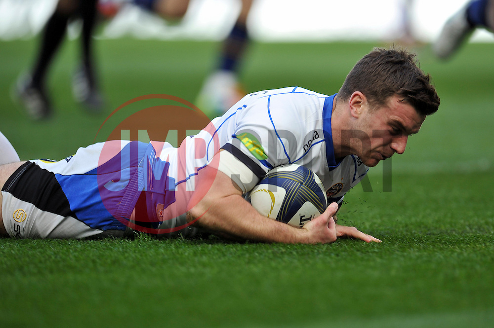 George Ford of Bath Rugby scores a try - Photo mandatory by-line: Patrick Khachfe/JMP - Mobile: 07966 386802 04/04/2015 - SPORT - RUGBY UNION - Dublin - Aviva Stadium - Leinster Rugby v Bath Rugby - European Rugby Champions Cup
