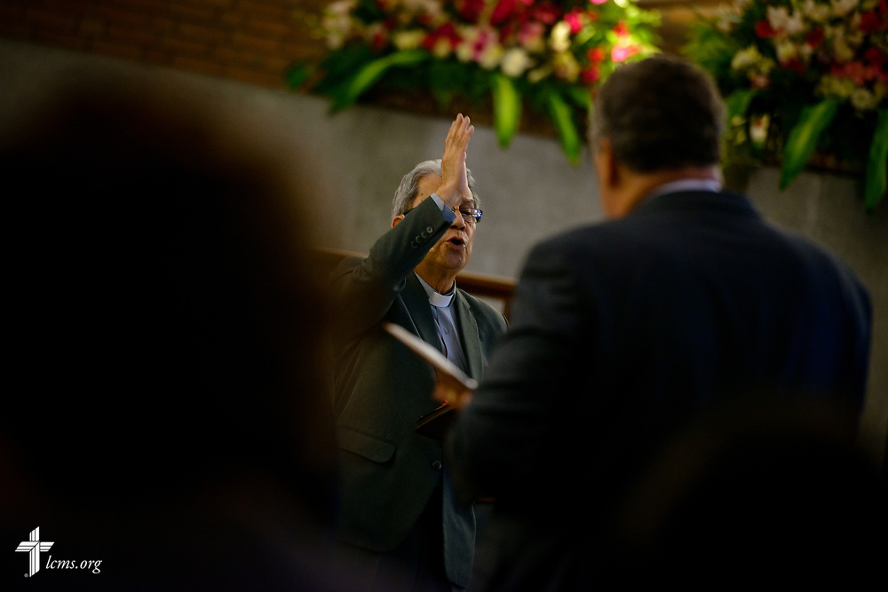The Rev. David Rodriguez, pastor at Iglesia Luterana de Cristo Rey (Christ the King) in Guatemala City, leads evening service on Wednesday, Oct. 4, 2017, in Guatemala. LCMS Communications/Erik M. Lunsford