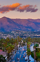 Overview of Cabrillo Boulevard, Santa Barbara, California USA.
