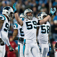 Carolina Panthers middle linebacker Luke Kuechly (59) fires up the Panther nation