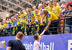 Florijani, supporters of Celje PL during handball match between Meshkov Brest and RK Celje Pivovarna Lasko in bronze medal match of SEHA- Gazprom League Final 4, on April 15, 2018 in Skopje, Macedonia. Photo by  Sportida