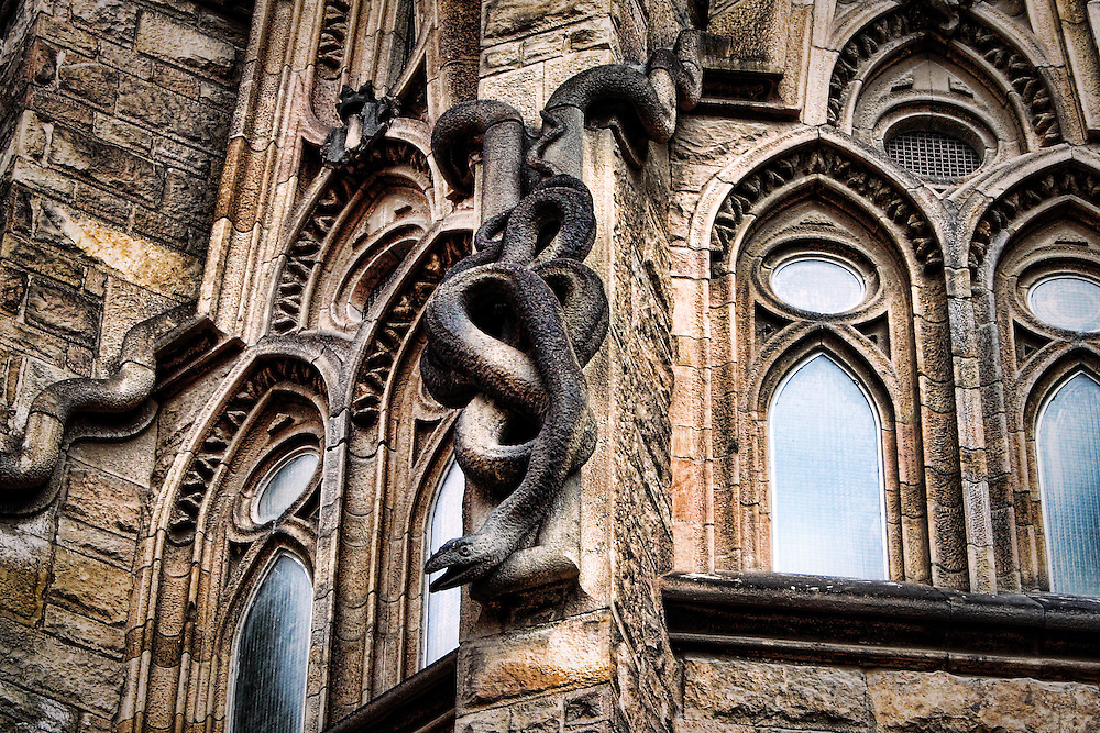 The serpent adorning the Sacred Family Cathedral, Barcelona.