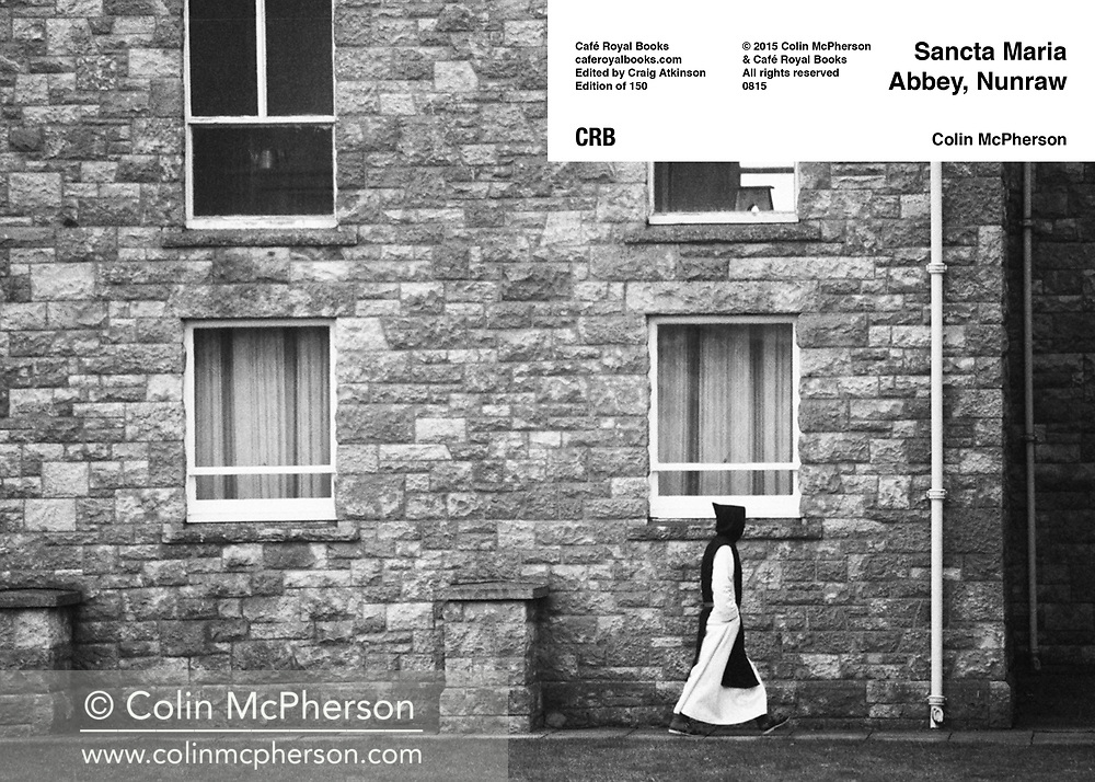 Double page spread from Cafe Royal Books publication entitled 'Sancta Maria Abbey, Nunraw' by photographer Colin McPherson. Edition of 250, published in 2015 to coincide with Document Scotland's exhibition at the Scottish National Portrait Gallery in Edinburgh 2015-16, which featured work by Colin McPherson.
