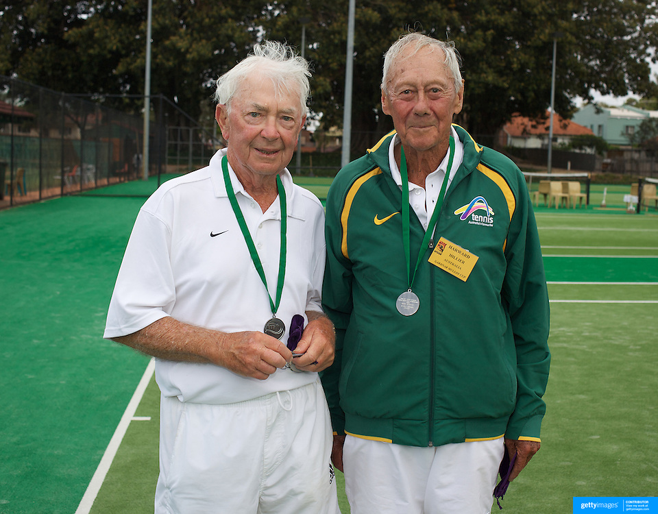 Douglas Corbett, Australia, (left) and Harward Hillier, Australia, Runners Up, 80 Mens Doubles during the 2009 ITF Super-Seniors World Team and Individual Championships at Perth, Western Australia, between 2-15th November, 2009.
