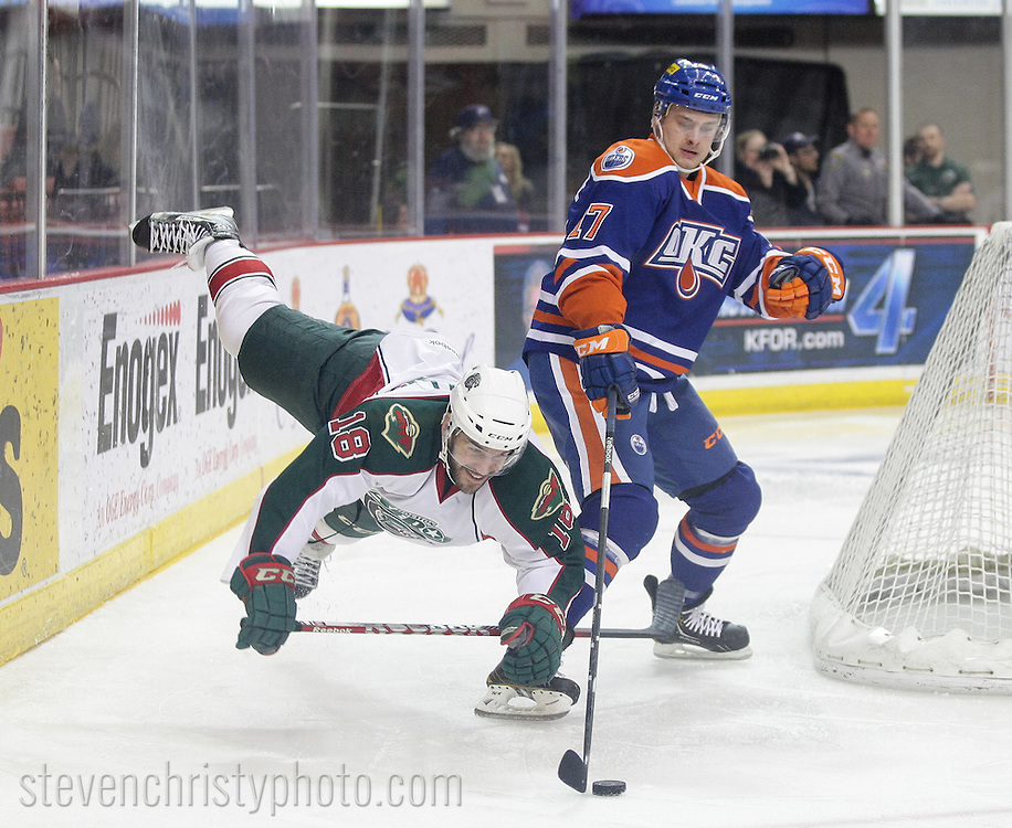 April 21, 2013: The Oklahoma City Barons play the Houston Aeros in an American Hockey League game at the Cox Convention Center in Oklahoma City.