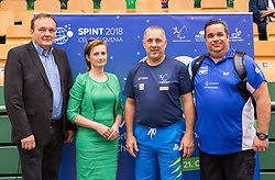 Franc Zdolsek, mayor of Lasko, Mojca Leskovar of Thermana Lasko, Damijan Lazar of ZSIS-POK and Gorazd Vecko, Technical director during opening ceremony at 15th Slovenia Open - Thermana Lasko 2018 Table Tennis for the Disabled, on May 9, 2018, in Dvorana Tri Lilije, Lasko, Slovenia. Photo by Vid Ponikvar / Sportida