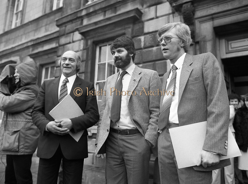 TDs arrive for the opening session of the 23rd Dáil...9-03-82.03-09-1982.9th March 1982..Pictured At Leinster House. ..From left:..Cork East Sinn Féin the Workers Party TD Joe Sherlock..Dublin North West Sinn Féin the Workers Party TD Proinsias De Rossa..Waterford Sinn Féin the Workers Party TD Patrick Gallagher.....