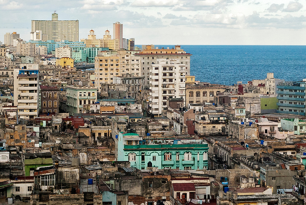 The beauty and decay of old buildings in Old Havana, Cuba, facing towards The Malec&oacute;n.<br />