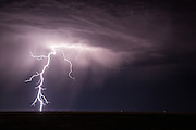 Strong thunderstorms create lightning over the high plains of southeastern Wyoming.