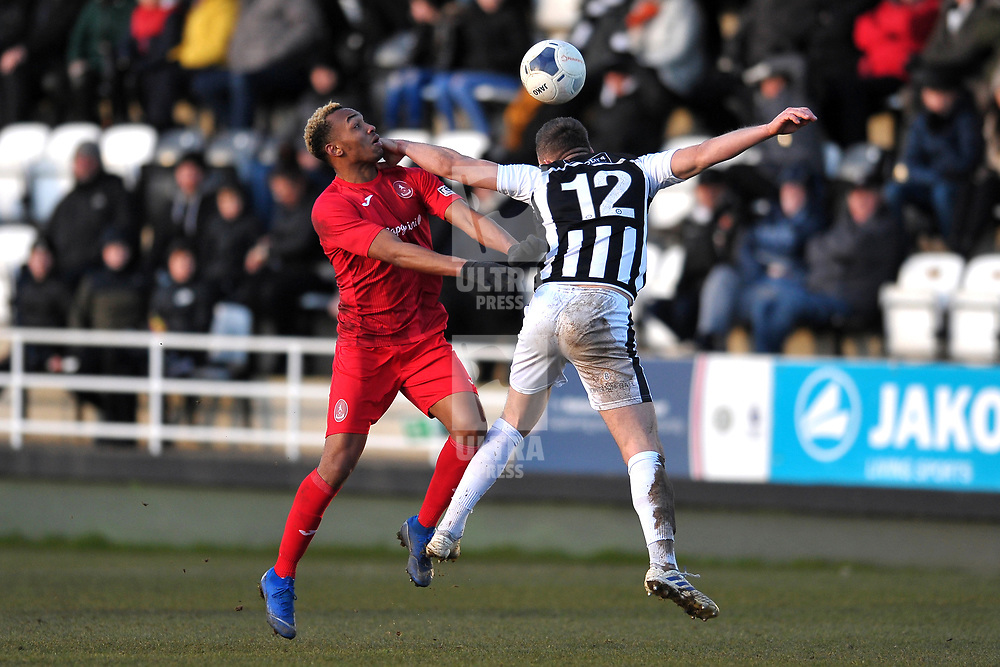 TELFORD COPYRIGHT MIKE SHERIDAN Marcus Dinanga of Telford battles for a header with Carl Magnay during the Vanarama Conference North fixture between Spennymoor Town and AFC Telford United at Brewery Field, Spennymoor on Saturday, February 29, 2020.<br /> <br /> Picture credit: Mike Sheridan/Ultrapress<br /> <br /> MS201920-048