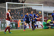 GOAL Matthew Lund celebrates scoring for Rochdale 1-1 during the EFL Sky Bet League 1 match between Northampton Town and Rochdale at Sixfields Stadium, Northampton, England on 17 December 2016. Photo by Daniel Youngs.
