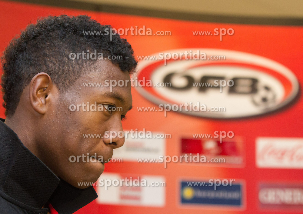 14.10.2012, Ernst Happel Stadion, Wien, AUT, FIFA WM Qualifikation, Oesterreich vs Kasachstan, Pressekonferenz OEFB, im Bild David Alaba (AUT)// during a press conference of Team Austria (AUT) in front of the FIFA World Cup Qualifier Match between Austria (AUT) and Kazakhstan (KAZ) at the Ernst Happel Stadion, Vienna, Austria on 2012/10/14. EXPA Pictures © 2012, PhotoCredit: EXPA/ Sebastian Pucher