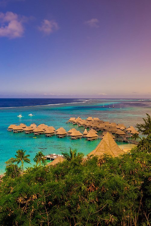 Overview of Hotel Sofitel Moorea Ia Ora Beach Resort, island of Moorea, French Polynesia.
