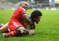 Josh Walters of Leeds Rhinos scores the try against Salford Red Devils during the Betfred Super League match at Emerald Headingley Stadium, Leeds<br /> Picture by Stephen Gaunt/Focus Images Ltd +447904 833202<br /> 02/04/2018