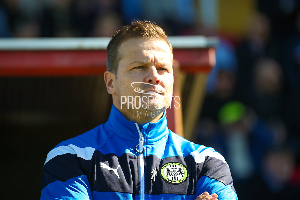 Forest Green Rovers Manager, Mark Cooper  during the Vanarama National League match between Lincoln City and Forest Green Rovers at Sincil Bank, Lincoln, United Kingdom on 25 March 2017. Photo by Simon Davies.