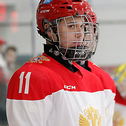 TRENTON, - Dec 10, 2015 -  Exhibition Game 3-  Russia vs Team Canada West at the 2015 World Junior A Challenge at the Duncan Memorial Gardens, ON. Mikhail Maltsev #11 of Team Russia during the pre-game warmup (Photo: Amy Deroche / OJHL Images)