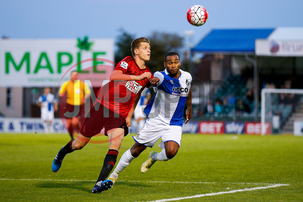 Jack Fitzwater of West Brom and Jermaine Easter of Bristol Rovers compete for the ball - Mandatory byline: Rogan Thomson/JMP - 07966 386802 - 31/07/2015 - FOOTBALL - Memorial Stadium - Bristol, England - Bristol Rovers v West Bromwich Albion - Phil Kite Testimonial Match.