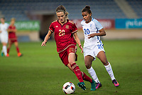 Spain's Irene Paredes England's Nikita Parris during the frendly match between woman teams of  Spain and England at Fernando Escartin Stadium in Guadalajara, Spain. October 25, 2016. (ALTERPHOTOS/Rodrigo Jimenez)