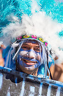 An Argentina fan with a feather head dress at the FIFA Fan Fest, Copacabana beach, Rio de Janeiro, during the Argentina v Belgium World Cup quarter final match which was shown on big screens.<br /> Picture by Andrew Tobin/Focus Images Ltd +44 7710 761829<br /> 05/07/2014