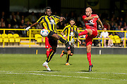 Russell Penn gets a shot off during the Friendly match between Harrogate Town and York City at Wetherby Road, Harrogate, United Kingdom on 25 July 2015. Photo by Simon Davies.