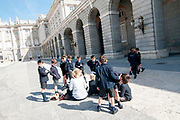 schoolchildren at the Royal Palace, Madrid, Spain