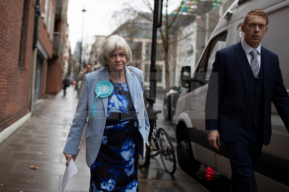© Licensed to London News Pictures. 06/12/2019. London, UK. Brexit Party MEP Anne Widdecombe arrives at the Emmanuel Centre in Westminster. Later today she will announce her party's defence and veterans policy  . Photo credit: George Cracknell Wright/LNP