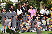NEW DELHI, April 12, 2016<br /> <br /> William and Kate continue Roiyal Visit<br /> <br /> Britain's Prince William and his wife Kate Middleton (C, rear) interact with children at Gandhi Smriti in New Delhi, India, April 11, 2016. The royal couple paid a visit Monday to the sacred place where Mahatma Gandhi, known as the father of India, spent the last 144 days of his life and was assassinated on January 30, 1948<br /> ©Exclusivepix Media