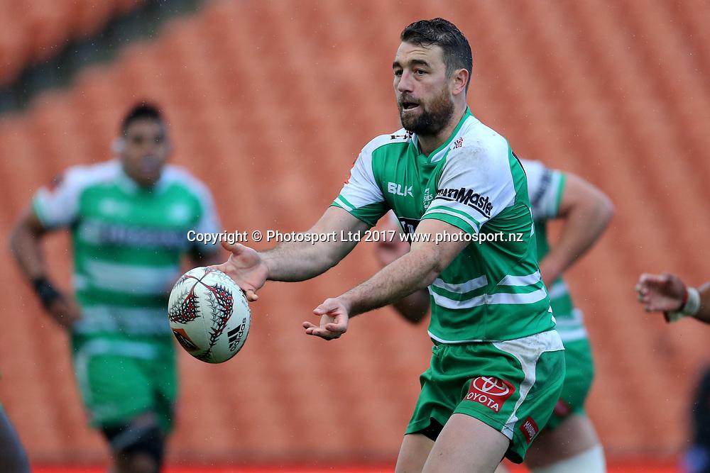 Manawatu fullback Kurt Baker passes during the Mitre 10 Cup rugby match - Waikato v Manawatu played at FMG Stadium Waikato, Hamilton, New Zealand on Saturday 16 September 2017.  <br /> <br /> Copyright photo: &copy; Bruce Lim / www.photosport.nz