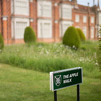 Helmingham Hall gardens in Suffolk England. The Apple walk signage