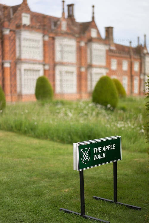 Helmingham Hall gardens in Suffolk England. The Apple walk signage