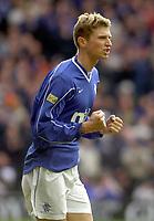 Rangers v Hearts, Scottish Premier. Ibrox Park.<br /><br />Pic Ian Stewart, 3/03/01.<br /><br />Tore Andre Flo celebrates after 2nd goal