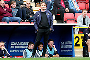 AFC Wimbledon manager Neal Ardley in front of the dugout during the EFL Sky Bet League 1 match between Charlton Athletic and AFC Wimbledon at The Valley, London, England on 28 October 2017. Photo by Matthew Redman.