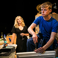 Touch by Vicky Jones,<br /> Amy Morgan as Dee,<br /> Matthew Aubrey as Sam,<br /> Directed by Vicky Jones,<br /> Soho Theatre, London.<br /> 11 July 2017.<br />