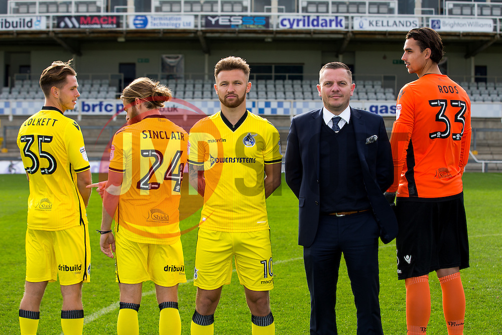 Back of Shirt Sponsor image with Charlie Colkett, Stuart Sinclair, Matty Taylor and Kelle Roos - Rogan Thomson/JMP - 13/10/2016 - FOOTBALL - Memorial Stadium - Bristol, England.