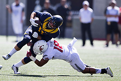 BERKELEY, CA - OCTOBER 03:  Tight end Raymond Hudson #11 of the California Golden Bears is tackled by safety Shalom Luani #18 of the Washington State Cougars during the first quarter at California Memorial Stadium on October 3, 2015 in Berkeley, California. (Photo by Jason O. Watson/Getty Images) *** Local Caption *** Raymond Hudson; Shalom Luani