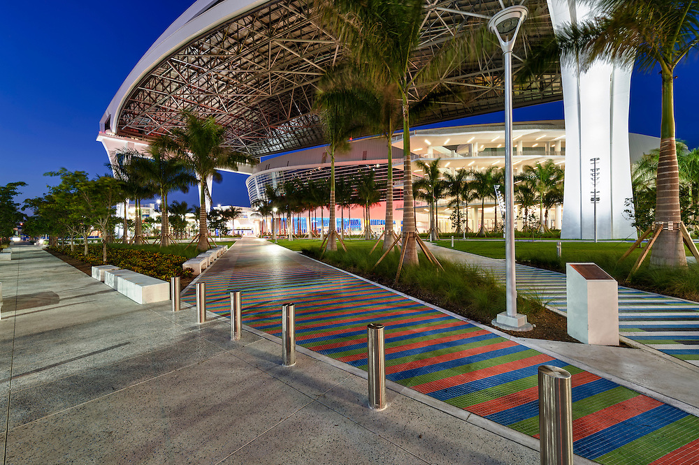 MIAMI, FL - APRIL 9: Access to the new Marlins Park, construction of the stadium  was completed in March 2012, just in time for Major League Baseball Season, it features a retractable roof and seats 37,442. Taken April 9 2012.