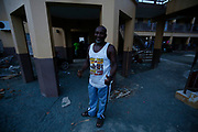 Cornelius, a resident of East End on Beef Island, BVI, now living in a school building after Hurricane Irma. &quot;Everyone who is living here now has lost everything in the hurricane&quot;, he says. &quot;All of our homes were completely destroyed. This food and water will keep us going for another few days, so hopefully we'll be ok&quot;.<br /> <br /> UK aid is reaching people who have lost everything after the devastating hurricane Irma on the British Virgin Island of Tortola in the Caribbean.<br /> <br /> Aid has been delivered to the island in the last 48 hours, including 1 tonne of food, water and shelter material which arrived this afternoon via a UK-chartered flight from Antigua, and was distributed within hours to a vulnerable group of families who are still sheltering in a school a week after the hurricane hit.<br /> <br /> Working with the Department of Disaster Management and the local community in East End, British aid experts quickly processed the shipment through the airport and delivered the aid to a school that had been used as a shelter in the hurricane and which was now home to 60 families who had lost their entire homes in the storm.