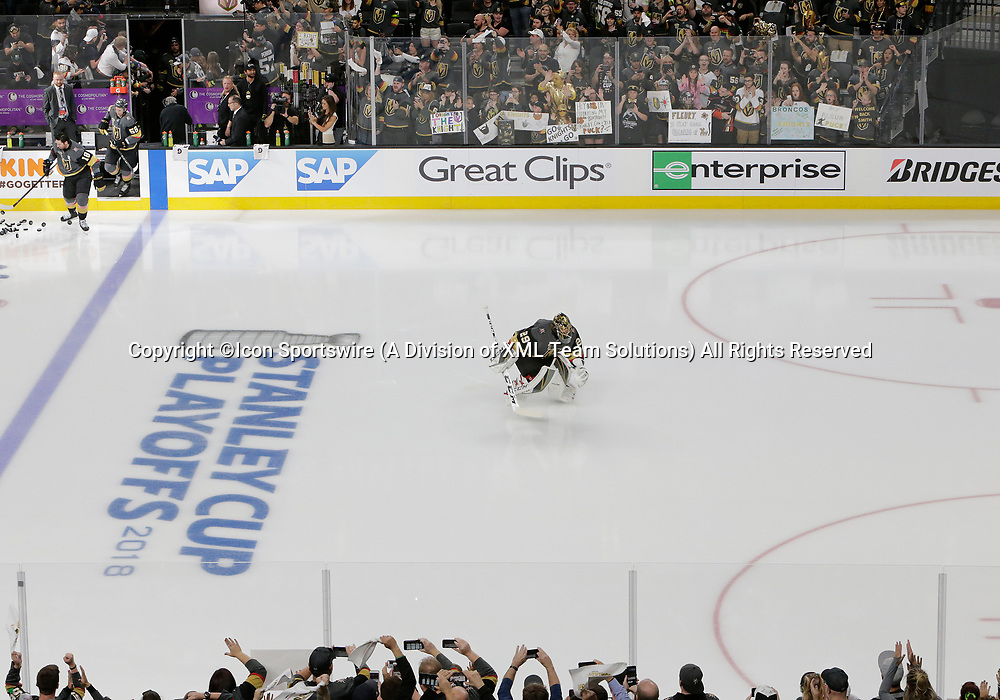 LAS VEGAS, NV - APRIL 11: Vegas Golden Knights goaltender Marc-Andre Fleury (29) takes to the ice during Game One of the Western Conference First Round of the 2018 NHL Stanley Cup Playoffs between the L.A. Kings and the Vegas Golden Knights Wednesday, April 11, 2018, at T-Mobile Arena in Las Vegas, Nevada. (Photo by: Marc Sanchez/Icon Sportswire)