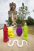 """54th Biennale of Venice..ILLUMInazioni - ILLUMInations.Arsenale..Katharina Fritsch, """"Stilleben (St. Katharina, St. Nicholas, Egg, Skull, Snake)"""", 2011."""