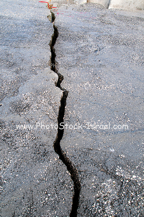 A long winding crack in a paved street.