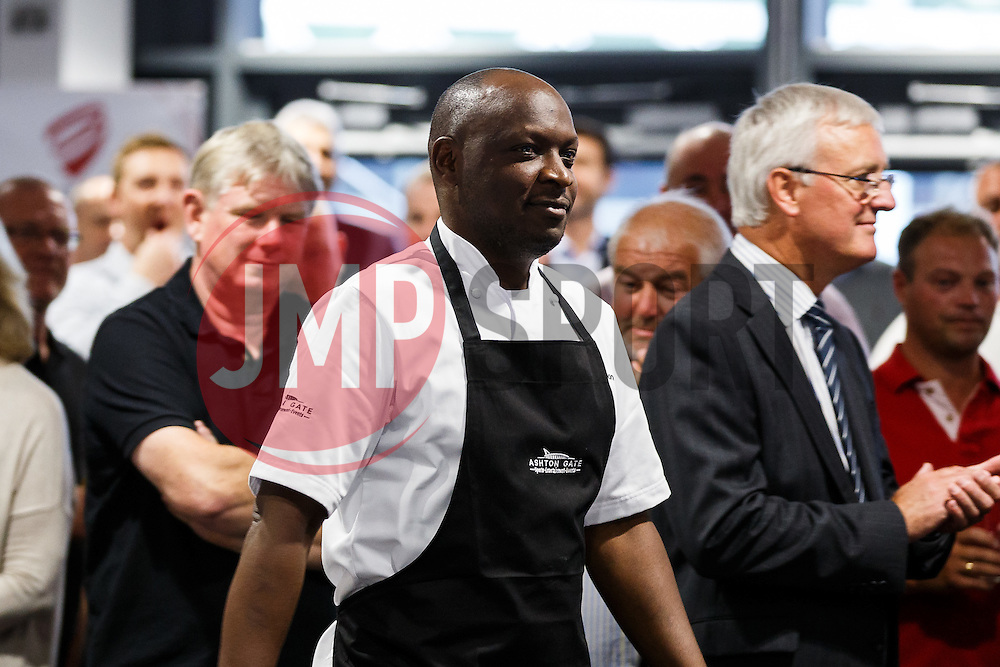 Chef George Opondo is introduced as Lansdown Club Members are given a preview of the Heineken Lounge and other facilities in the newly built South Stand - Mandatory byline: Rogan Thomson/JMP - 07966 386802 - 13/08/2015 - SPORT - Ashton Gate Stadium - Bristol, England - Bristol Sport Lansdown Club Networking Event.
