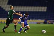 Ryan Flynn of Oldham Athletic and Scunthorpe United midfielder Stephen Dawson (8) battle for the ball during the EFL Sky Bet League 1 match between Oldham Athletic and Scunthorpe United at Boundary Park, Oldham, England on 18 October 2016. Photo by Simon Brady.