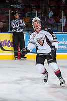 KELOWNA, CANADA - MARCH 15: Rob Trzonkowski #28 of the Vancouver Giants warms up against the Kelowna Rockets on March 15, 2014 at Prospera Place in Kelowna, British Columbia, Canada.   (Photo by Marissa Baecker/Getty Images)  *** Local Caption *** Rob Trzonkowski;