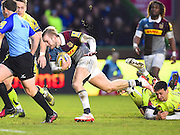 Helicons player Charlie Walker finds some space in the first half during the Aviva Premiership match between Harlequins and Sale Sharks at Twickenham Stoop, Twickenham, United Kingdom on 7 January 2017. Photo by Ian  Muir.during the Aviva Premiership match between Harlequins and Sale Sharks at Twickenham Stoop, Twickenham, United Kingdom on 7 January 2017. Photo by Ian  Muir.